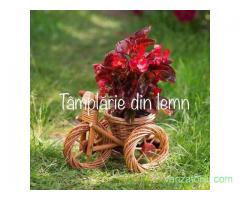 Suport flori Bicicleta si tractor rustice, din rachita
