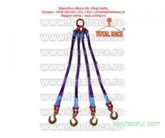 Sistem de ridicare din chingi cu 4 brate cu carlige rotative